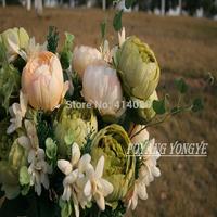 50Pcs /Lot Wholesale Flower Bounch  Per PC Including 6 pcs Diameter 7cm Lily Flower Heads +3 pcs 5 Lily Bud + 3 Sets Leaves