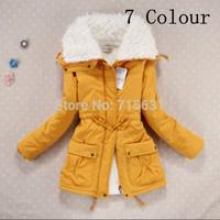 2014 European Fashion Winter Down Parka Lamb Wool Coat Women Lapel Casual Warm Thermal Outerwear Cotton Padded Jacket 7 Colour