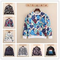 NEW 2014 autumn Winter women Men Neoprene structured fashion brand sweatshirt pullover brand flowr printed sweatshirt NH1502