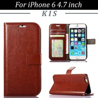30pcs/lot Retro Style Crazy Horse Series Wallet Stand PU Leather Case With 3 Card Slots For iPhone 6 4.7 inch, Free Shipping