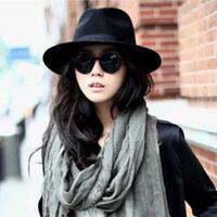 Free Shipping! 2014 New Quality Big Fedoras Classic Black Wide Brim Jazz Gentleman Women Hat 56-58cm