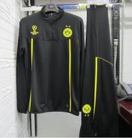Dortmund black training suit  wear long-sleeved, black 2014-15 UEFA Champions League  training suit free shipping