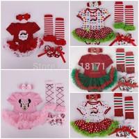 Retail 2015 Baby Christmas Dress 4pcs/set Infant Boys Girls Xmas Costumes Santa Clause Jumpersuit+stockings+Headband+shoes
