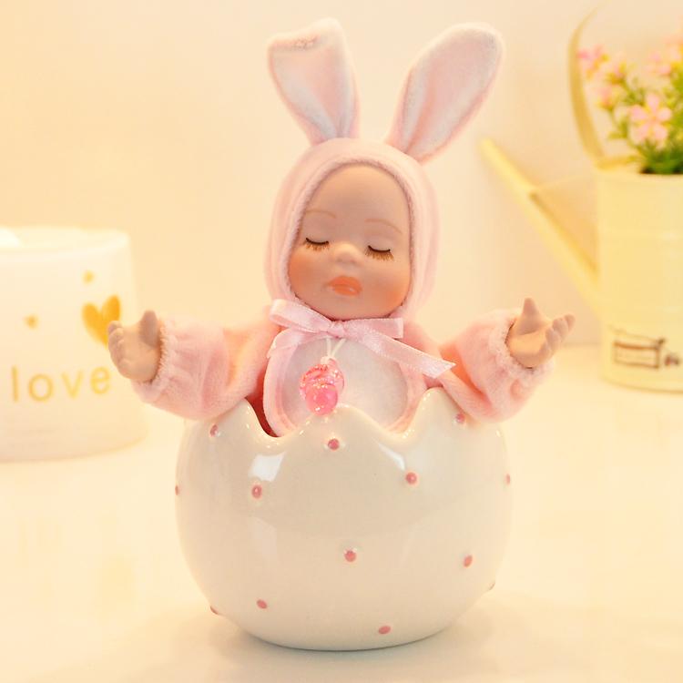 Criativos para crianças coelho da música caixa de cerâmica balançando a cabeça presente de casamento prático presente de aniversário caixa de música menina(China (Mainland))