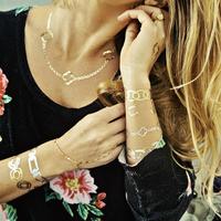 Top Quality MetallicTattoos Necklace Bracelet Temporary Tattoo Flash tattoos 4 pcs/lot  SKU: FT-03