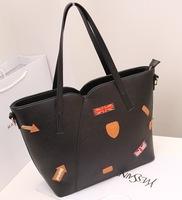 New arrival fashion Vintage matching badge design shopping bag women leather handbag /shoulder bag WLHB852