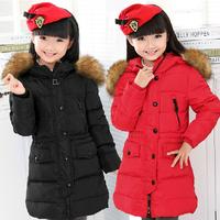 Retail 1 Pcs Children Baby Girls Winter Warm Coat Jackets For Girls Medium-Long Duck Down Faux Fur Hood Coat Outwear QQ123