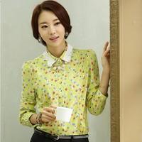 2014 autumn chiffon shirt female long-sleeve cherry print plus size slim polka dot basic shirt top