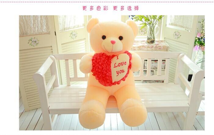"stuffed toy "" i love you "" heart teddy bear plush toy,31 inch bear doll,birthday gift w5388(China (Mainland))"