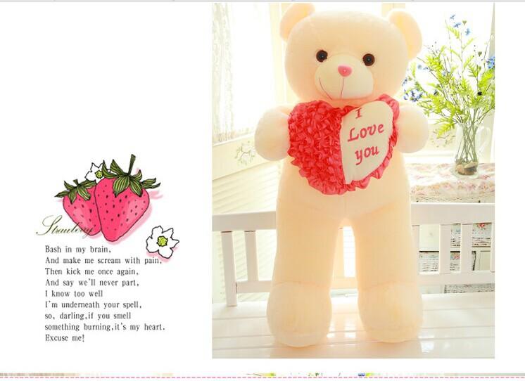 "huge 120cm teddy bear plush toy "" i love you "" heart teddy bear doll,Christmas gift w5399(China (Mainland))"