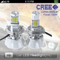 New Model Led Car Lights H4 Socket 60w/pc 3000Lm/pc lamp Cree led bulb High White Brightness Hi/Lo