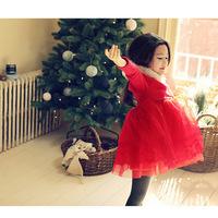 2014 Spring Autumn Winter New Korean Design Baby Girls Christmas Dress Thickening Non-inverted-velvet Gauze Princess Tutu Dress