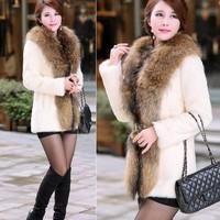 Elegant Women Faux Fur Winter Overcoat Jacket Fur Coat Outerwear Snowsuit Long Sleeve Outerwear B22 CB031665