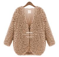 Fashion Style Women's Autumn Warm Coat Faux Lamb Fur Batch Shoulder Jacket Tops Overcoat 3 Colors Free Shipping Xmas Gift