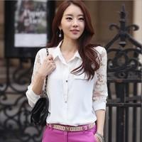 2014 Fashion autumn long-sleeve chiffon shirt top lace basic women's shirt white plus size