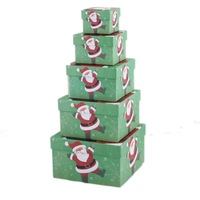 Christmas Santa Claus Gift Jewelry Box In Box Multi Layers 5 In 1 Set Square 65070