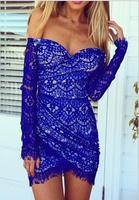Europe and the United States women's dress lace irregular dress hot off the shoulder dress maxi shirt leopard dress Frozen dress