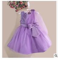 wholesale new arrive kid princess dress sequins shawl baby girls purple dress 7 color free shipping size 3-12 6pcs/lot