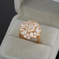2014 NEW Real 18K Rose GOLDPlated Heart Clover Zircon Ring Genuine