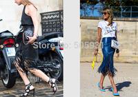 Fashion Women Tassel PU Leather Skirt Zipper Tight