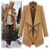 Autumn and winter New women's long-sleeved woolen coat irregular long section cardigan good quality