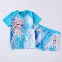 Free shipping Frozen girls SUV sun protection anti-uv swimwear bather t shirt short 2pcs sets 6 sets/lot FGS04