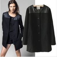 2014 Hot European style big temperament long section of stitching solid single-breasted coat woolen coat ladies coat