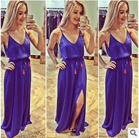 014 Blue collar sling low bosom V slim sexy dress party dress bandage long bodycon dress frozen dress elsa dress