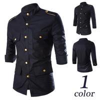 Vintage Men Military Epaulet Gold Button 1/2 Sleeve Dress Shirt Stand Collar Top