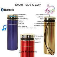 Multi-Functional Smart Music Vacuum Cup, FM Handsfree Bluetooth Speaker TF Card Rder Audio Player Speaker LED Light, Alloy Shell