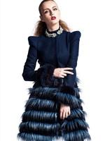 2014 winter new women's long sleeve dark solid colors flash diamond buckle collar temperament Slim woolen coat free shipping