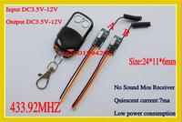 DC3.5V-12V Micro Wireless Remote Switch 3.5v 3.6v 3.7v 4.5v 5v 6v 9v 12v Mini Mos Receiver No Sound+ Remote Control 433