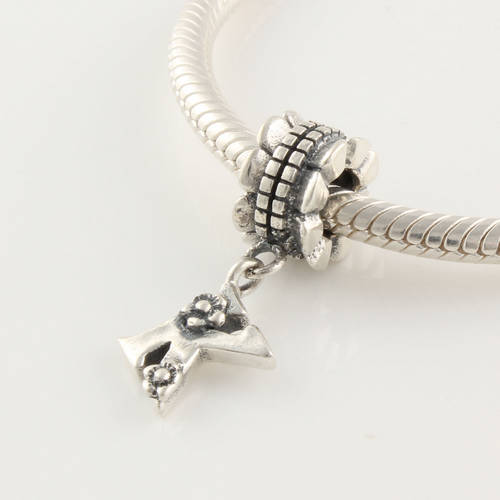 LE012K Free shipping 100 Guaranteed 925 Sterling Silver bead Letter K Charms DIY Making Pendant Fit