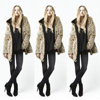 Winter Coat Fashion Faux Fur Women Coat Long Sleeve Leopard Print Overcoat Winter Jacket Women Outwear M-XL Free Shipping