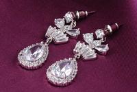 2014 new fashion Korean romantic elegance Umbilicaria zirconium earrings wedding gift to commemorate a couple  CER0028-B