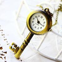 Quartz pocket watch key shaped quartz cartoon cool fashion analog quartz for children students hot sale