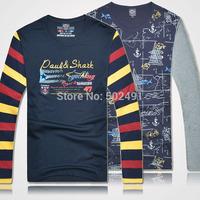 New Mens Tee T shirts Long Sleeves Casual Tops Fashion 2014 Brand Designer Men's Classic Sport Yachting T Shirt Size:XXXL-M