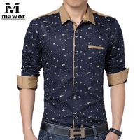 Plus Size 5XL Men's Casual Shirts Print Long-sleeved Dress Shirt Slim Fit Social Shirts Men's Clothing MC150