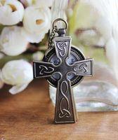 Dropship hot sale 2014 antique bronze long chain unisex quartz analog cross pocket watch