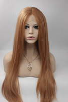 2014 Free Shipping Perucas Fashion Womens Lady Medium Long Straight Brown Synthetic lace front Wig