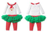 Spring Autumn Baby Girls Christmas Clothing Sets Santa Shirt and Lace Dot Tutu Pantskirt Set Kids Clothes Wholesale