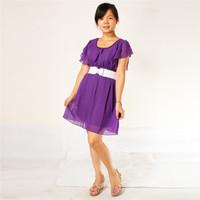 Pure Color Korean Womens Chiffon Lace Short Sleeve Dress Purple White Belt