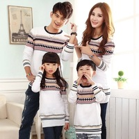 Women Girls Print Pullover Sweater Long Design Sweater Full Sleeve Think Colorful Striped Shirts Wears Mother Daughter Son White