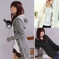 Women Long Cardigan Knit Sweater Plaids Hooded Jacket Coat Belt Outerwear for witner autumn springcasual