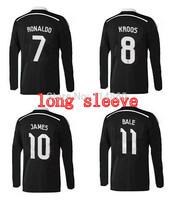 free shipping ,2015 real madrid away black Dragon long sleeve thai quality jersey ,ronaldo james soccer jersey ,full sleeve