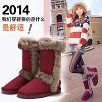 anti-slip snow boots with fur