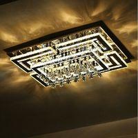 Free shipping  rectangle design large crystal led lamp lustre crystal ceiling light for living room home decoration lighting