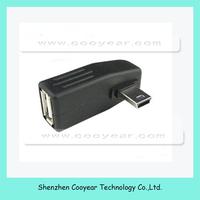Right Anlgled OTG USB Female - Mini 5P Male Adapter AUX