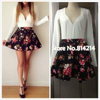 014 Hot new female fashion sexy V neck dress floral mosaic slim waist dress bandage minibodycon dress frozen dress elsa dress