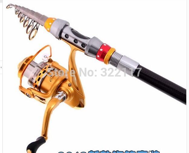 1.8-2.7 meters pole 6 shaft 2000 pole spinning wheel set fishing tackle set fishing rod(China (Mainland))